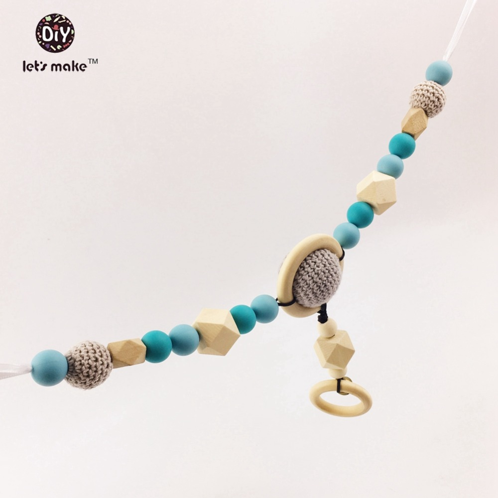 Let's Make Pram Clip Pram String Silicone Beads Wooden Beads Baby Teether Toy Stroller Chain  Infant Toy Wooden Rattle Baby Toys