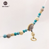 Pram Clip Pram String Silicone Beads Wooden Beads Baby Teether Toy Stroller Chain Infant Toy Wooden