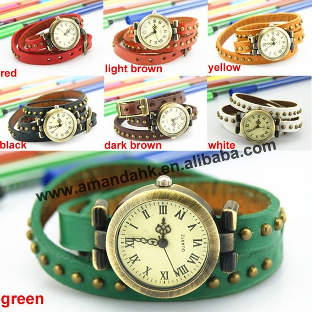 100 pcs/lot On Sale Vintage Woman Watches Roman Long Strap Wristwatch Popular Leather Watches Casual Dress Punk Wristwatches