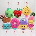 7 estilos de Frutas Juguetes de Peluche Manzana Fresa Galletas Donuts Muffin de Chocolate Barra de Labios Juguetes para La Muchacha Muñecas y Peluches
