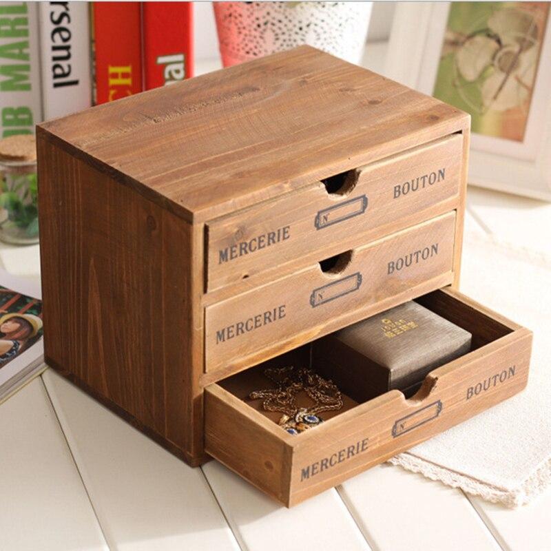 Bois multicouche tiroir Type bureau Article boîte de rangement rétro armoire de rangement en bois tiroir maison rangement organisateur 25x17.5x19.5 cm