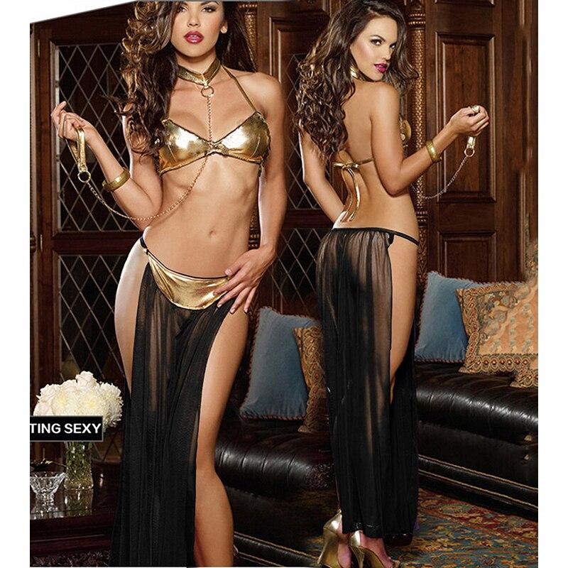 Doll sexy lingerie lace porn lingerie temptation sexy Teddy female underwear erotic gauze transparent chest split skirt set