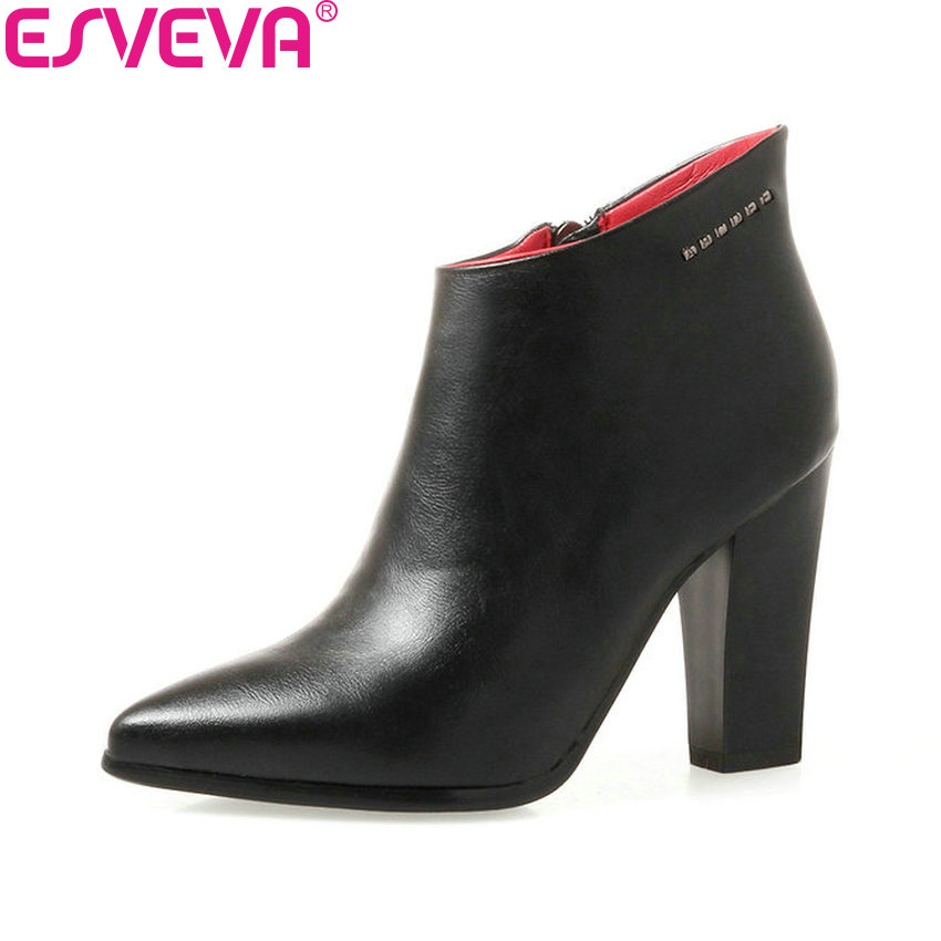 ESVEVA 2018 Concise Pointed Toe Women Boots Western Style Ankle Boots PU Leather Zippers Spring Autumn Ladies Shoes Size 34-40 esveva 2018 women boots zippers black short plush pu lining pointed toe square high heels ankle boots ladies shoes size 34 39