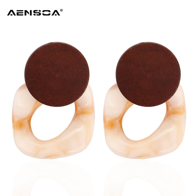 AENSOA New Simple Temperament Resin Earrings Wind Irregular Geometric Wood Drop Earrings Korean Statement For Fashion Women 2018