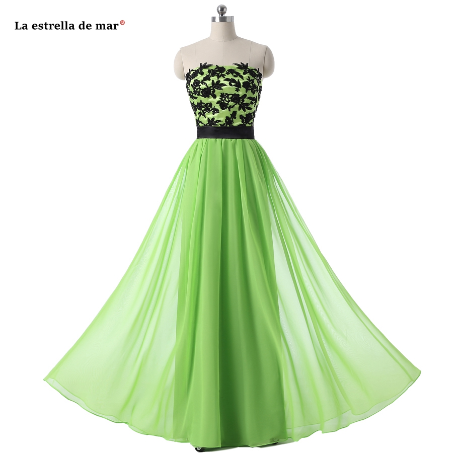 La estrella de mar vestido madrinha new sexy sexy sweetheart chiffon applique halter a Line lime green   bridesmaid     dresses   long