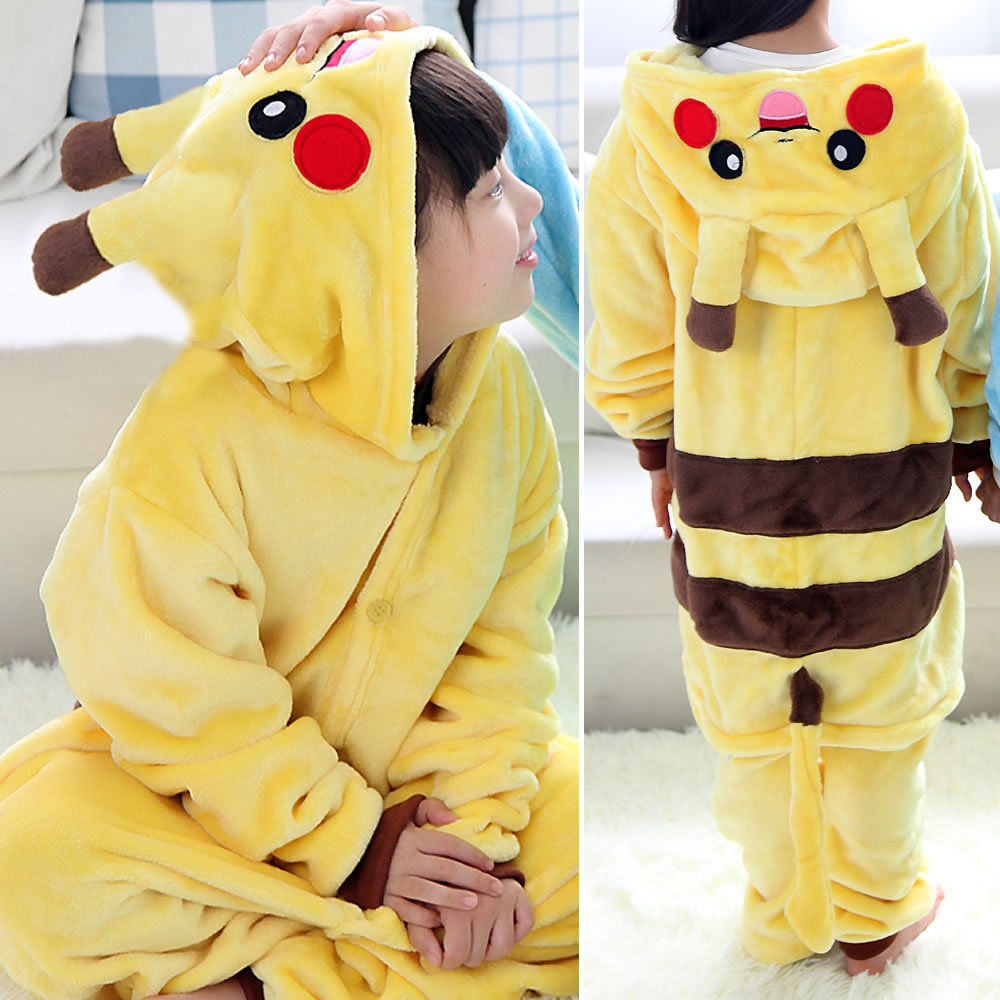 Kids Pikachu Kigurumi Onesie Children Animal Pajamas Costume Fancy Soft Anime Pokemon Cosplay Onepiece Boy Girls Winter Jumpsuit