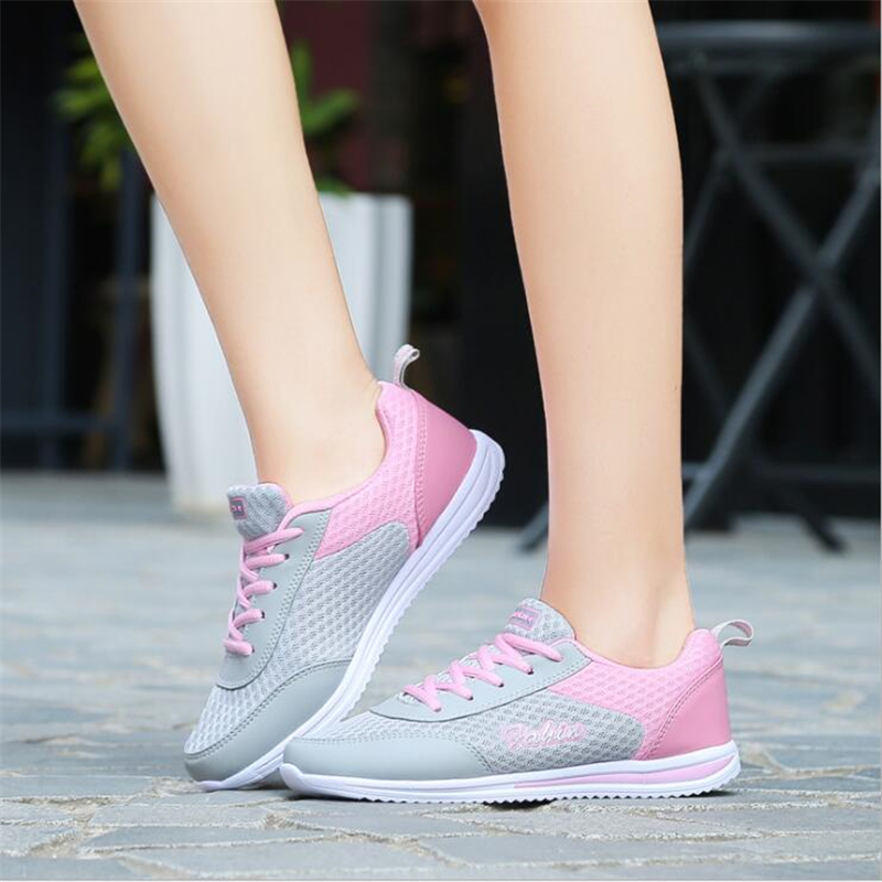 2017 New Summer Women Casual Shoes Female Ladies Girl Breathable Fashion Red Sport Mesh Shoes For Woman Soft Outdoor Flats shoes 2017 summer new style baby girl boy first walkers breathable mesh soft sole hook