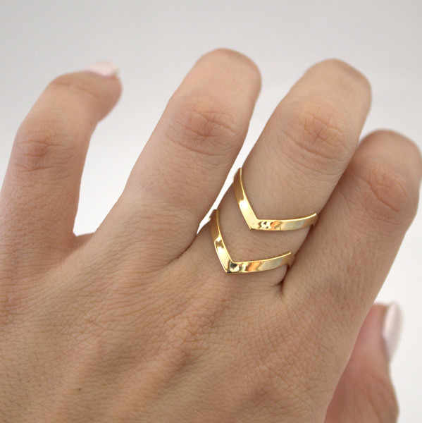 SMJEL 2019 New Fashion Boho Double Lines V Chevron Rings For Women's Gift Simple Geometric Bague Dainty Rings Femme Jewelry R248