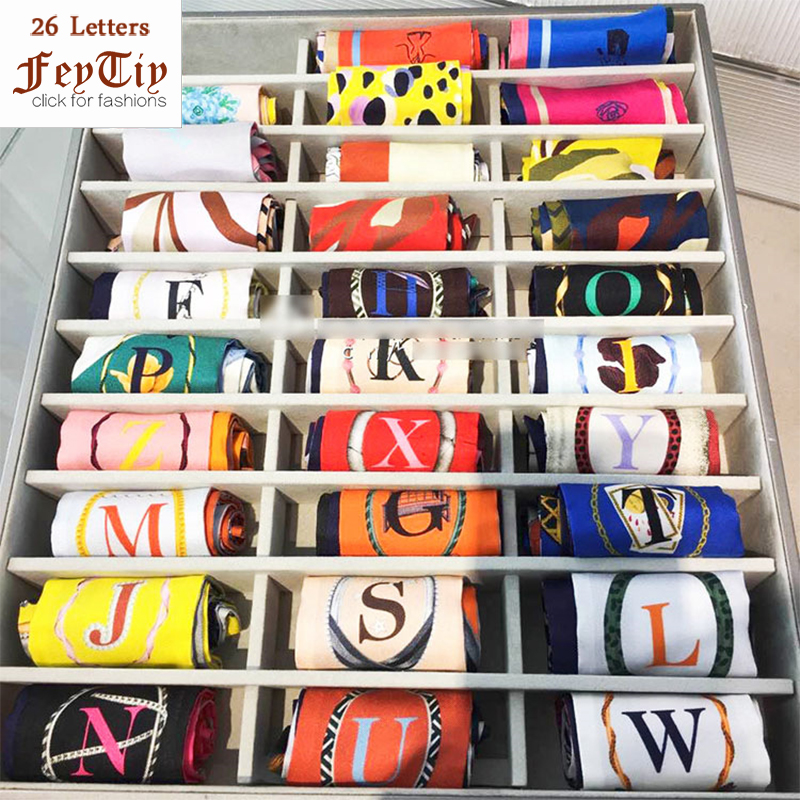 26 Letters   Scarf   Women Silk Kerchief 2018 Fashion Head   Scarf   Brand Small Tie Bag Ribbons Constellation Female Neck   Wraps   95*6cm