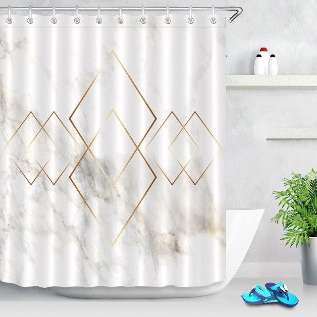 Golden Geometry Rhombus Nordic Marble Texture Shower Curtain with Mat Bathroom Polyester Waterproof Fabric for Bathtub