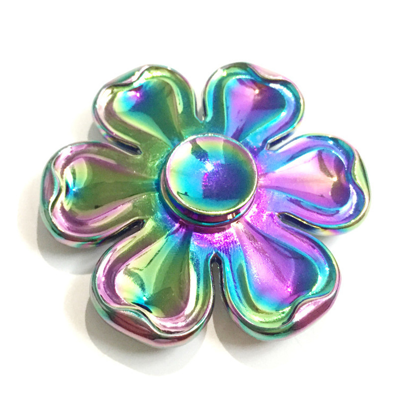 Six Leaves Flower Shape Colorful Rotating Fidget Hand Spinner Reduce Stress Children Adult Plastic Toys Stress Relief Toy