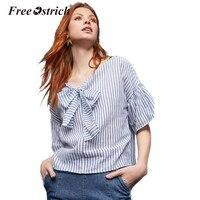 Free Ostrich 2017 Summer Fashion V Neck Short Sleeve Preppy Loose Shirt Women Striped Sexy Ruffles