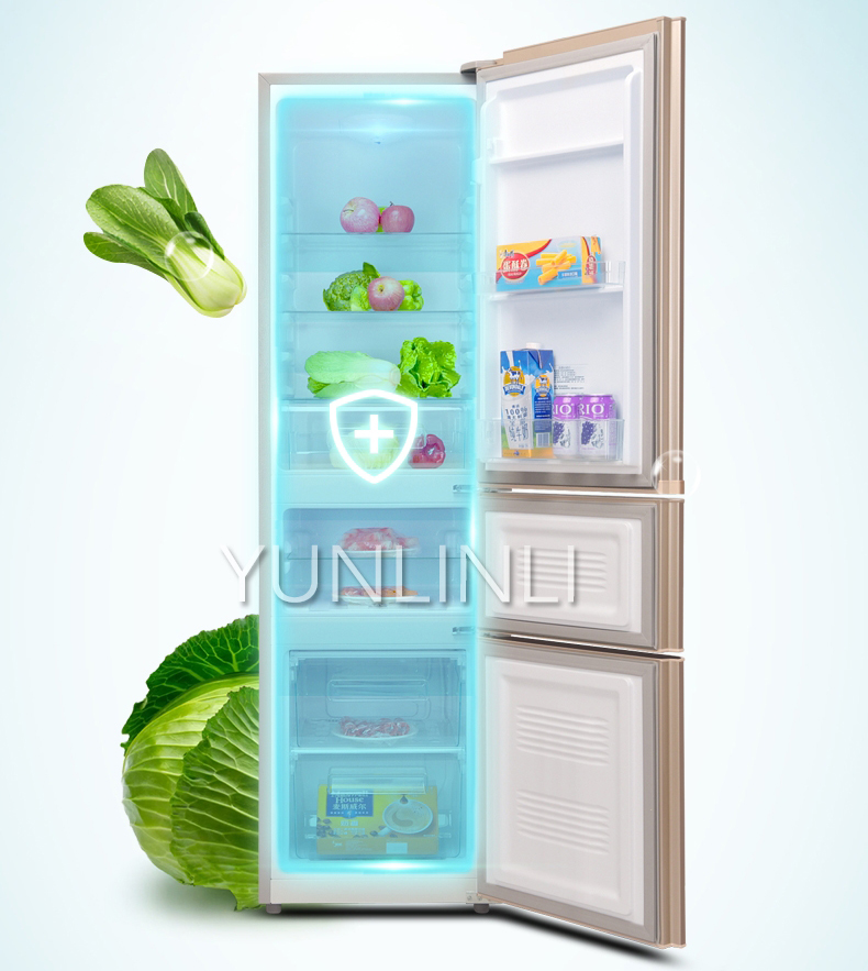 Купить с кэшбэком Household Three-door Type Refrigerator  Domestic Energy-saving Refrigerator   206L Large Capacity Household Fridge  BCD-206GX3S