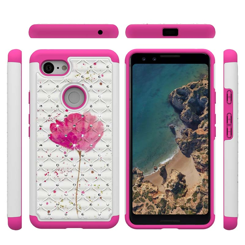 For Google Pixel 3 Cartoon 2 In 1 Diamond Soft Silicone Hybrid PC Phone Case For Google Pixel 3 XL Back Cover Shockproof Cases