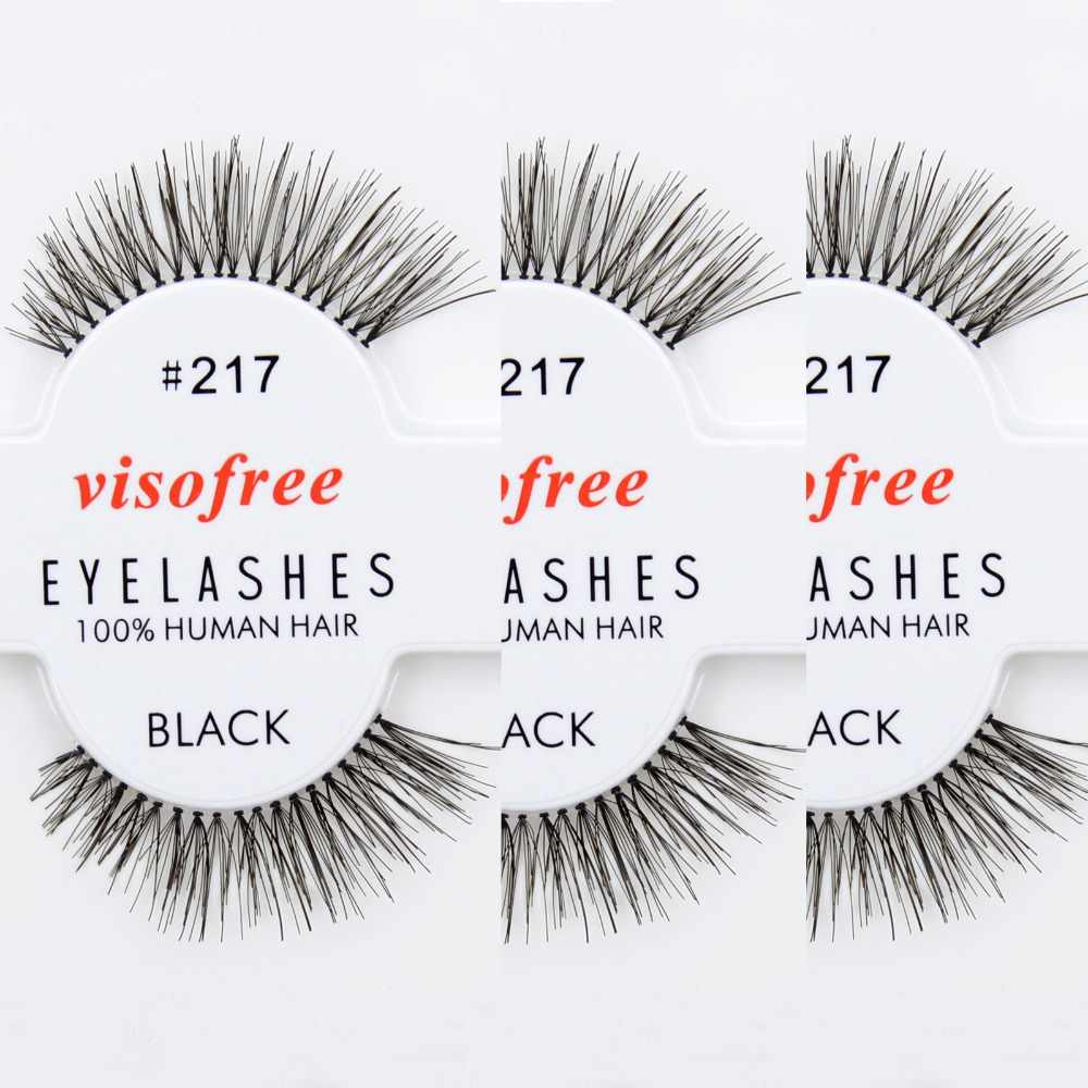052ba2b50d0 12 pairs/lot Visofree Eyelashes 100% Human Hair Handmade False Eyelashes  Messy Nature Eye