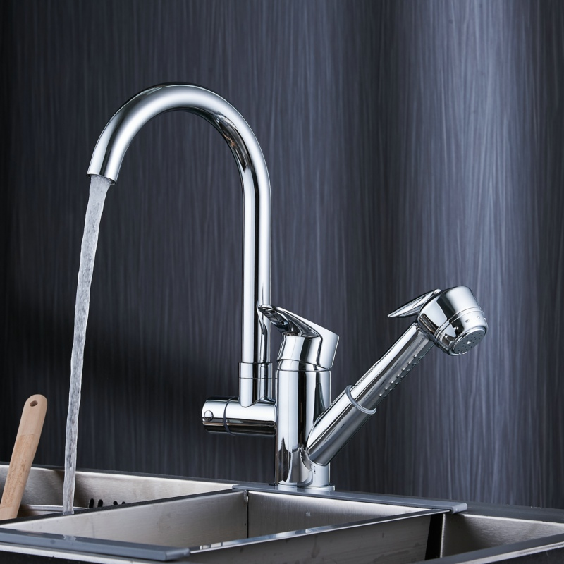 free shipping becola new design pull out kitchen faucet high quality hot and cold water sink mixer tap deck mounted B-9207 new pull out sprayer kitchen faucet swivel spout vessel sink mixer tap single handle hole hot and cold