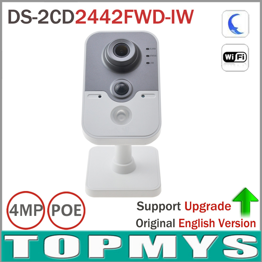 8pcs/lot Hik 4MP POE Wifi IP Camera with Buit-in Micro SD card slot PIR Cube Home Security CCTV wifi Camera DS-2CD2442FWD-IW