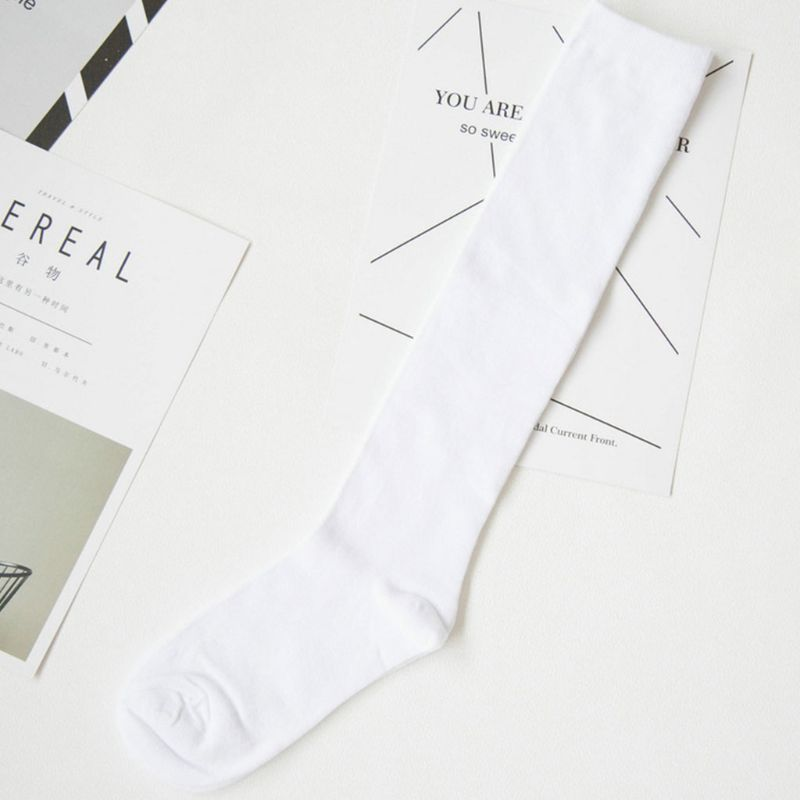 Women Cotton Knee High Long Socks Ribbed Knitted Stretchy Elastic Boot Stockings