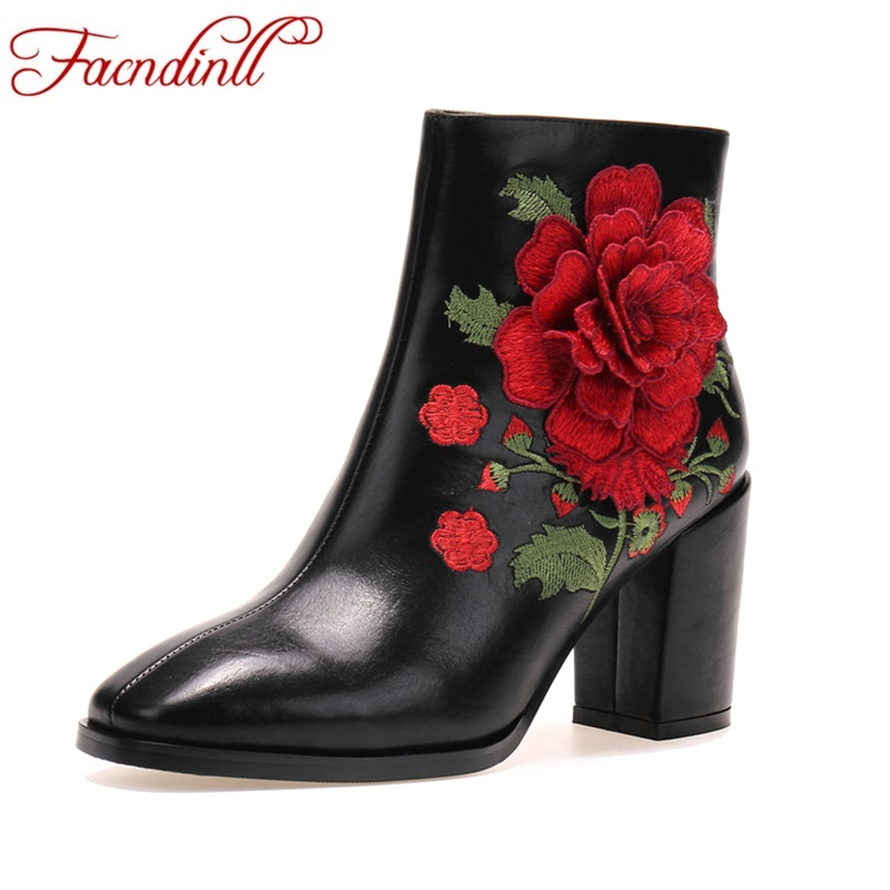 FACNDINLL new autumn winter women ankle boots shoes genuine leather high heels zipper black shoes woman riding boots party shoes facndinll shoes 2017 genuine leather women ankle boots sexy thick high heels pointed toe lace up shoes woman dress party shoes