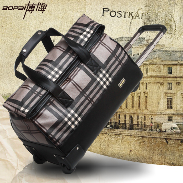 20 inches trolley bags with drawbar women travel bags hand luggage fashion waterproof duffle bag with code maletas de equipaje