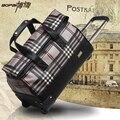20 pulgadas bolsos de la carretilla con la barra de tiro mujeres viajan bolsas de equipaje de mano de la moda bolsa de lona impermeable con código de maletas de equipaje