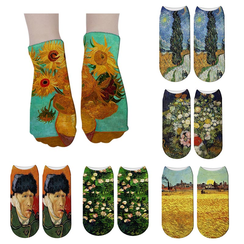 SexeMara New 3D Printing Women   Socks   Women Van Gogh Art   Socks   Classic Oil Painting Sunflower Funny Unisex Ankle   Sock   Meias
