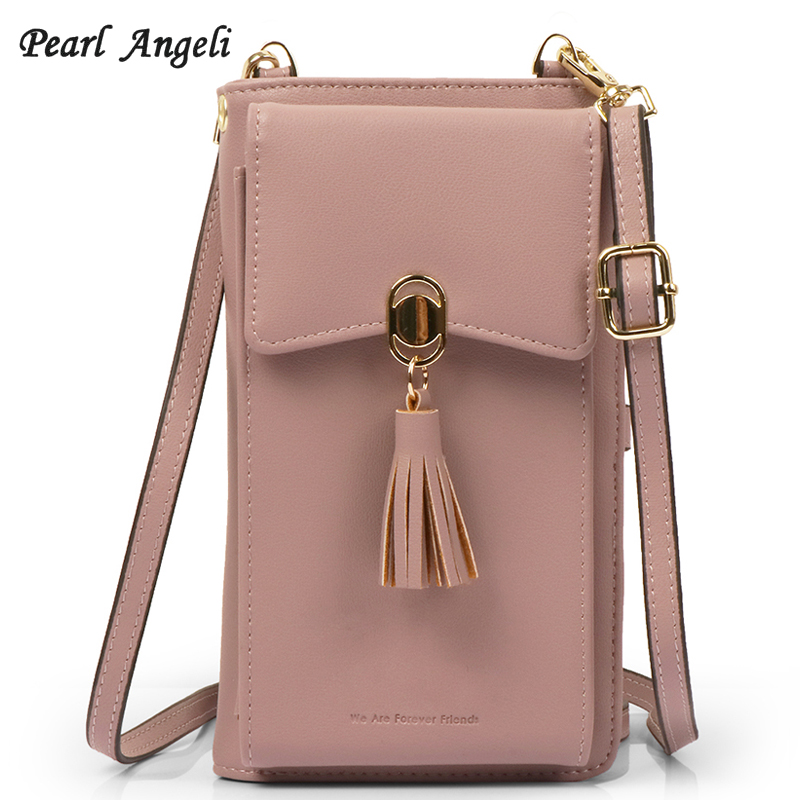 617233affdc US $16.99 40% OFF|Pearl Angeli Women Wallet Small Crossbody Bag Credit Card  Holder RFID Female Purse Cellphone Pouch Coin Pocket Shoulder Strap-in ...