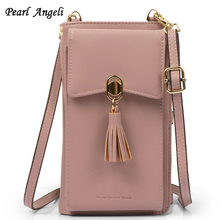 Pearl Angeli Women Wallet Small Crossbody Bag Credit Card Holder RFID Female Purse Cellphone Pouch Coin Pocket Shoulder Strap