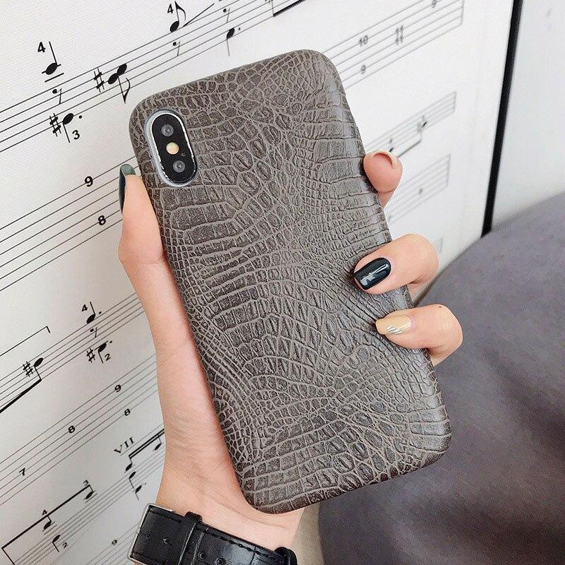 Boucho для iphone Xs MAX XR X XS чехол s крокодиловая текстура чехол для телефона для iphone 11 Pro max 7 8 6 6S Plus Роскошный чехол из искусственной кожи - Цвет: crocodile gray