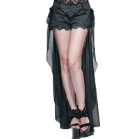 Steampunk Gothic Shorts Woman Summer High Waist Sexy Shorts Formative Short Pants With A Long Tail Women Shorts