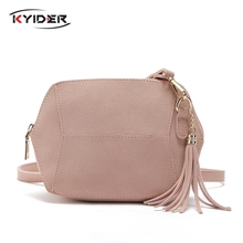 KYIDER Fashion Matte PU Leather Shoulder Bags Candy Color Shell Women Messenger Crossbody Tassel Ladies Bag Handbags