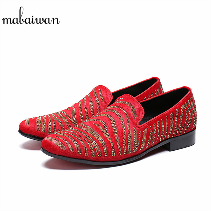 Mabaiwan New Luxury Red Casual Men Slip On Leather Party Wedding Shoes Men Handmade Suede Rhinestones Banquet Prom Loafers Flats new arrived royal blue rhinestone mens loafers luxury fashion slip on men suede shoes handmade men s wedding and prom shoes