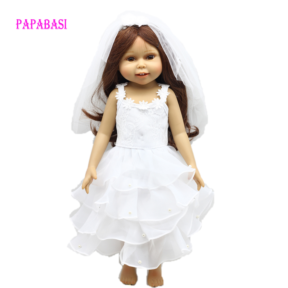 "For 18 inch American Girl Doll white wedding Clothes dress Fits 18"" American Girl dolls"