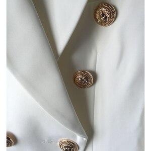 Image 5 - 높은 품질 새로운 패션 2020 스타 스타일 디자이너 블레 이저 여자의 골드 단추 더블 브레스트 블레 이저 플러스 크기 S XXXL