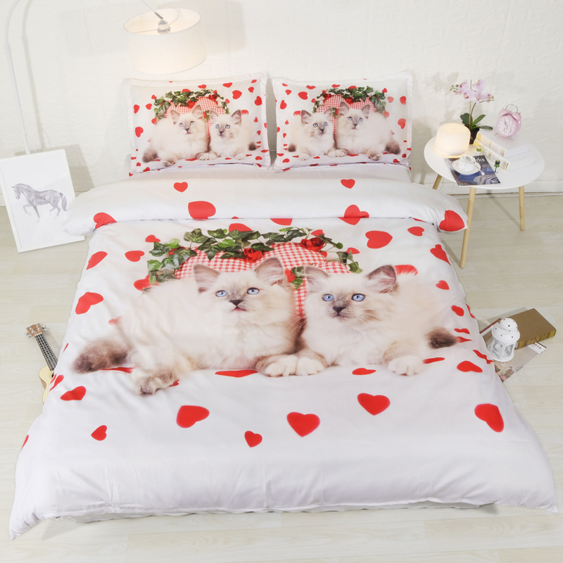 Fanaijia cat Bedding Set queen size Cartoon cat flower Duvet Cover set with pillowcase king kids
