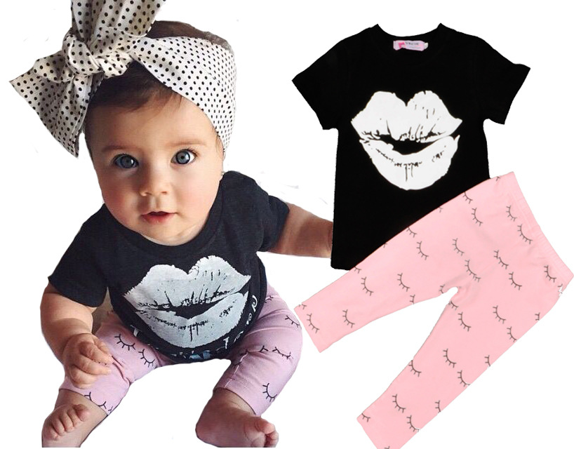 2017 INS baby outfits / black lip t-shirt +eyelash leggings set / girl outifits /pink pants