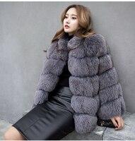 מעיל פרווה אמיתי BFFUR גבוהה אופנה חדשה לנשים מעילי פרוות שועל איכות 2017 דגם עם צבע אפור שחור צווארון פרוות שועל Vest 10427