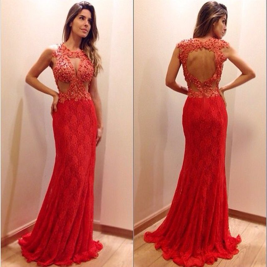 Red lace keyhole dress