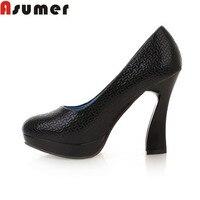 Asumer 새로운 도착 패션 최고 품질의 여성 달콤한 스타일의 두꺼운 하이힐 여성 신발 인기있는 하이힐 웨딩 파티 신발