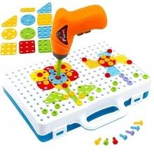 Шуруповерты Креативная мозаика-пазл 4в1 в чемодане обучающая Детская электрическая гайка с отверстиями под ключ игрушки Собранный инструмент для матча DIY мозаичный узор строительные игрушки для мальчиков подарок