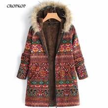 CROPKOP Winter Warm Coat 2019 New Outsize Hooded Pockets Zipper Coats Feminine Vintage Geometric Print Casual Ladies