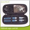 Ego Ce4 doble Starter Kits eGo Zipper Case 650 mah 900 mah 1100 mah eGo-T de la batería Kit atomizador Ce4 cigarrillo electrónico fumar