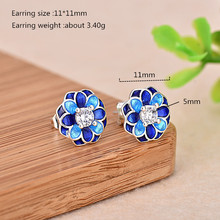 2019 Hot Sales 925 Silver Enamel Earrings Beautiful Blue and 5mm White Zircon Stud Earring for Women Jewelry