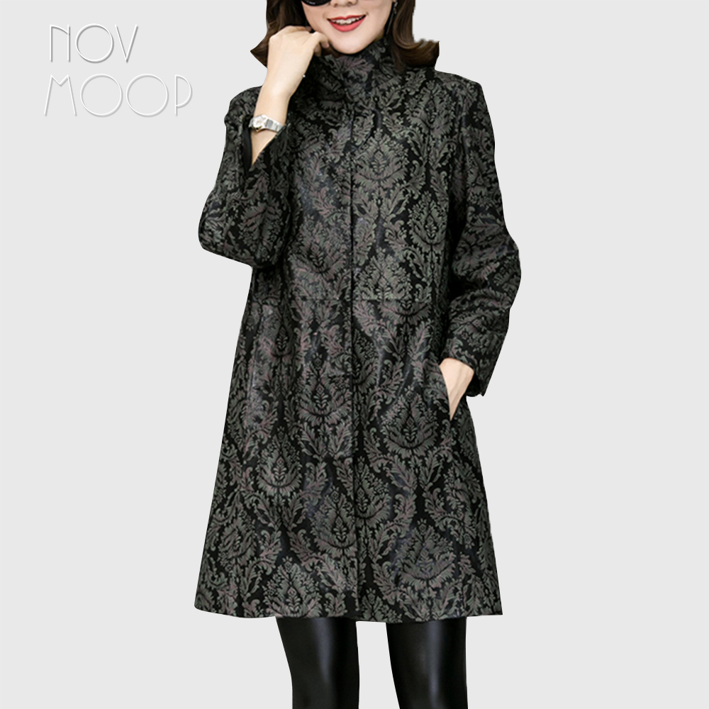 Green red plant print genuine leather trench coat A Line real lambskin leather coat outwear plus