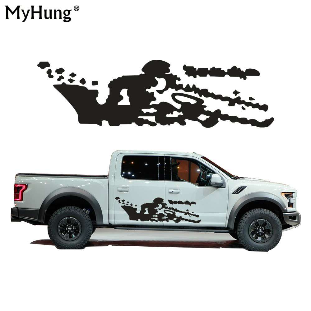 Stickers For ISUZU D MAX One People Battle Map Shape Car Styling Car Whole Body Sticker Personality PVC Car Accessories 2PCS