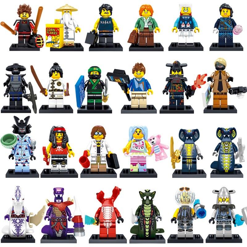 все цены на 2018 NEW 24PCS Compatible LegoINGlys NinjagoINGlys Movie Sets NINJA Lloyd Kai Jay Cole Zane Nya WU Snake Weapons Building Blocks онлайн