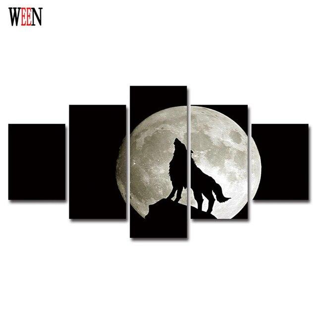 Pintura Lobo Aullando A La Luna Pintura De La Lona Imagen De La