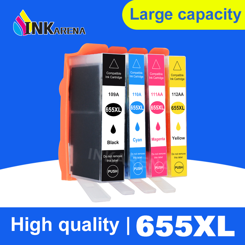INKARENA 4 Color Ink Cartridges For <font><b>HP</b></font> 655 XL Deskjet 3525 4615 4625 5525 <font><b>6520</b></font> 6525 Printer Cartridge For <font><b>HP</b></font> 655 Full Ink image
