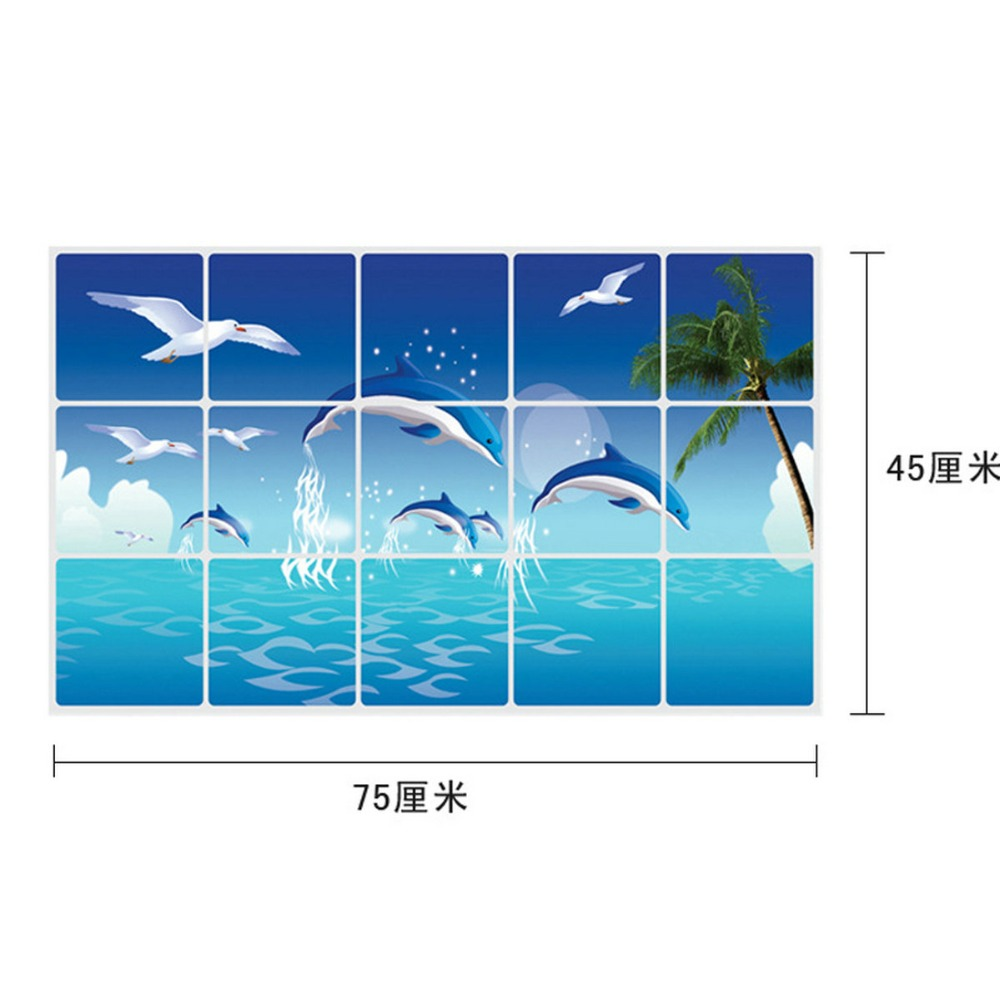 75*45CM Dolphin Birds Kitchen Wall Stickers Decal Home Decor Art ...