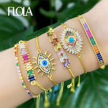 FLOLA Gold Evil Eye Bracelet Women 2019 CZ Rainbow Turkish Blue Eye Bracelet Girls Evil Eye Jewelry ojo turco brtb54(China)